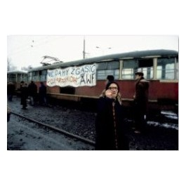 Banner on tram supporting striking cadets from the School of Fire Services (WOSP), 1981.
