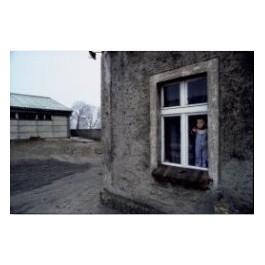 Stan wojenny. Dziecko stojące w oknie domu na wsi niedaleko Leszna, 22 lutego