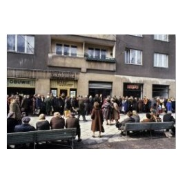 Long queue in front of the butcher's. Warsaw 1980