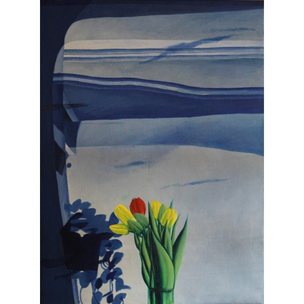 Blue window with tulips