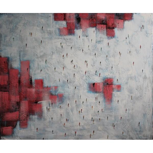 Ludzka kompozycja z czerwienią